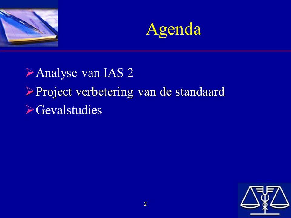 Agenda Analyse van IAS 2 Project verbetering van de standaard