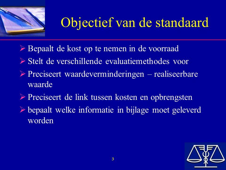 Objectief van de standaard