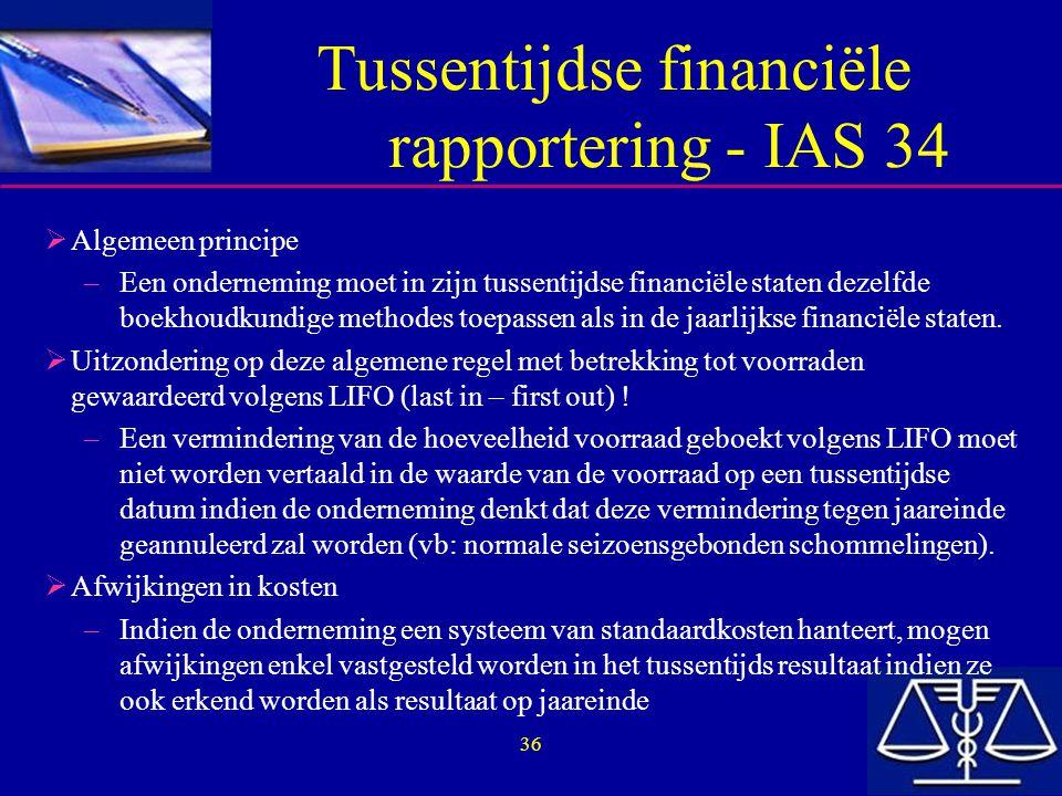 Tussentijdse financiële rapportering - IAS 34