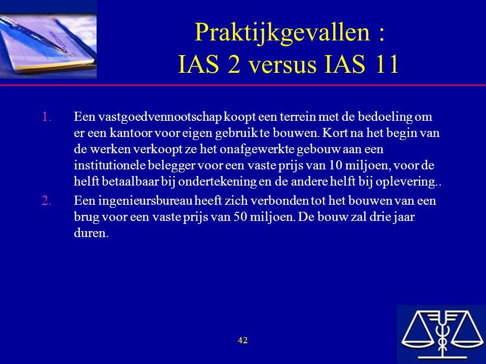 Praktijkgevallen : IAS 2 versus IAS 11