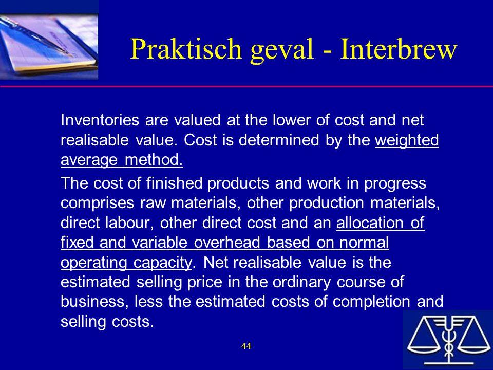 Praktisch geval - Interbrew
