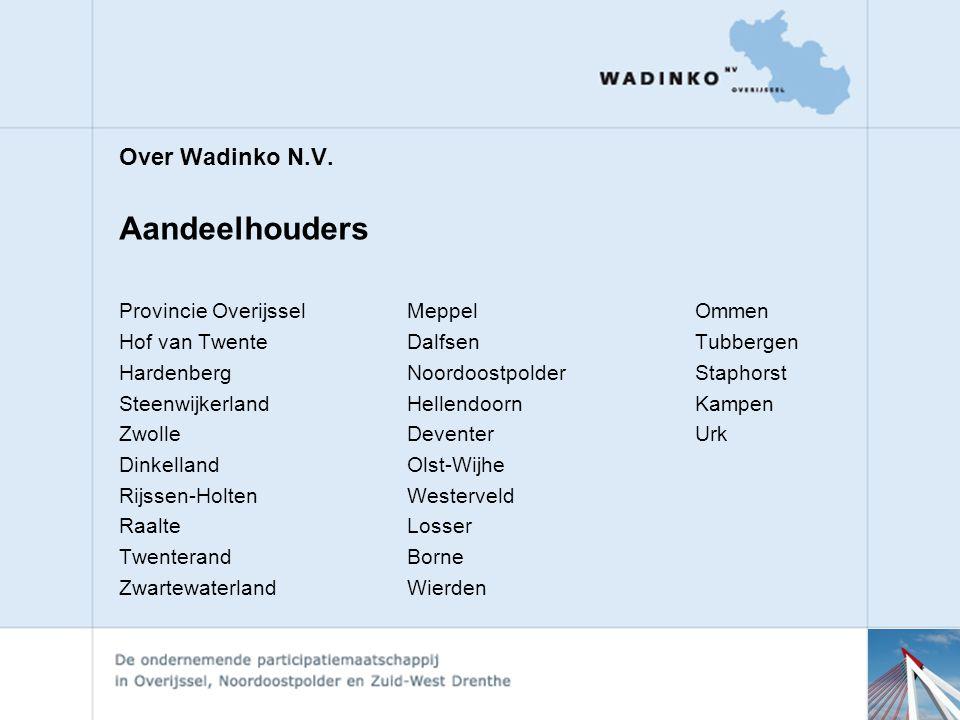 Aandeelhouders Over Wadinko N.V. Provincie Overijssel Meppel Ommen