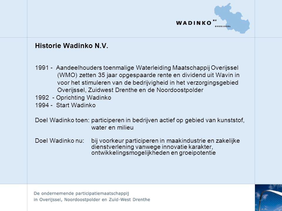 Historie Wadinko N.V. 1991 - Aandeelhouders toenmalige Waterleiding Maatschappij Overijssel.