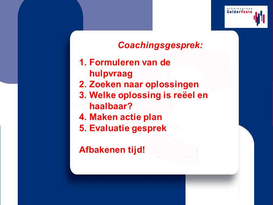 Coachingsgesprek: Formuleren van de hulpvraag. Zoeken naar oplossingen. Welke oplossing is reëel en haalbaar