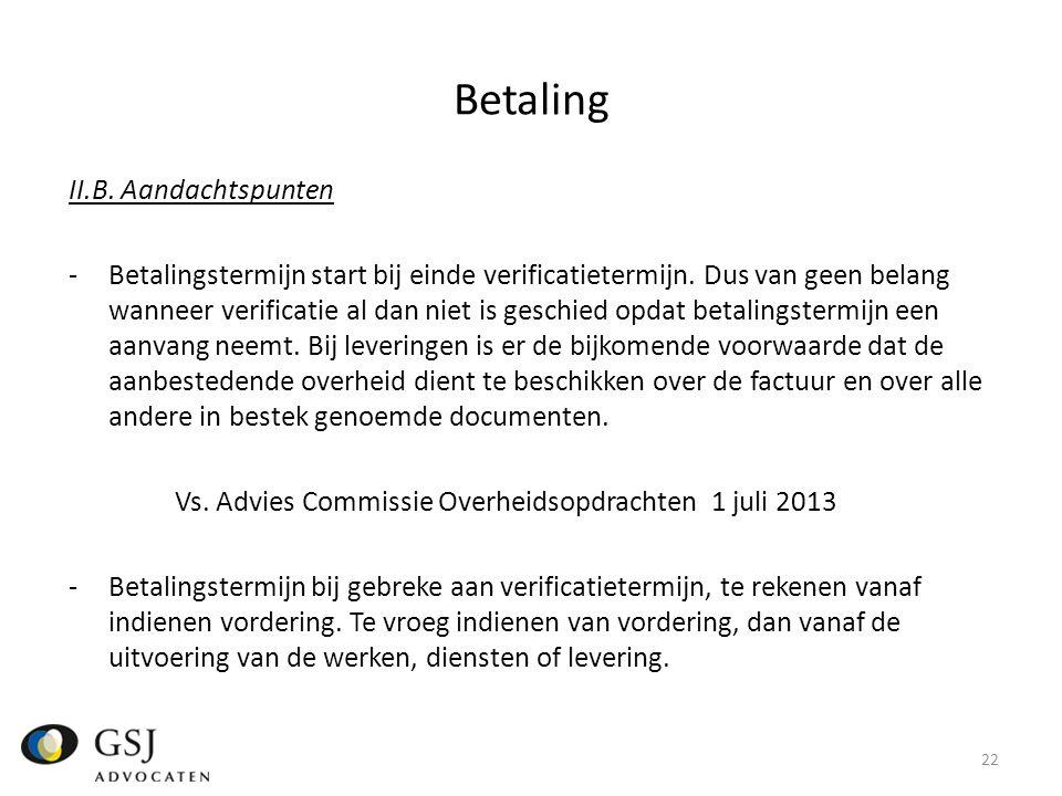 Betaling II.B. Aandachtspunten