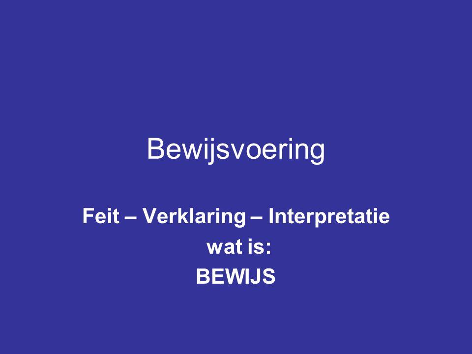 Feit – Verklaring – Interpretatie wat is: BEWIJS