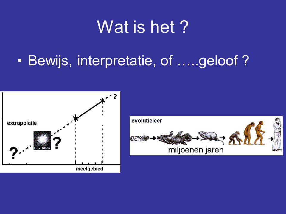 Wat is het Bewijs, interpretatie, of …..geloof