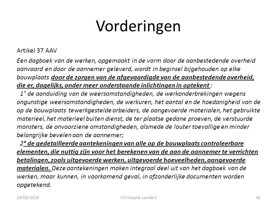 Vorderingen Artikel 37 AAV