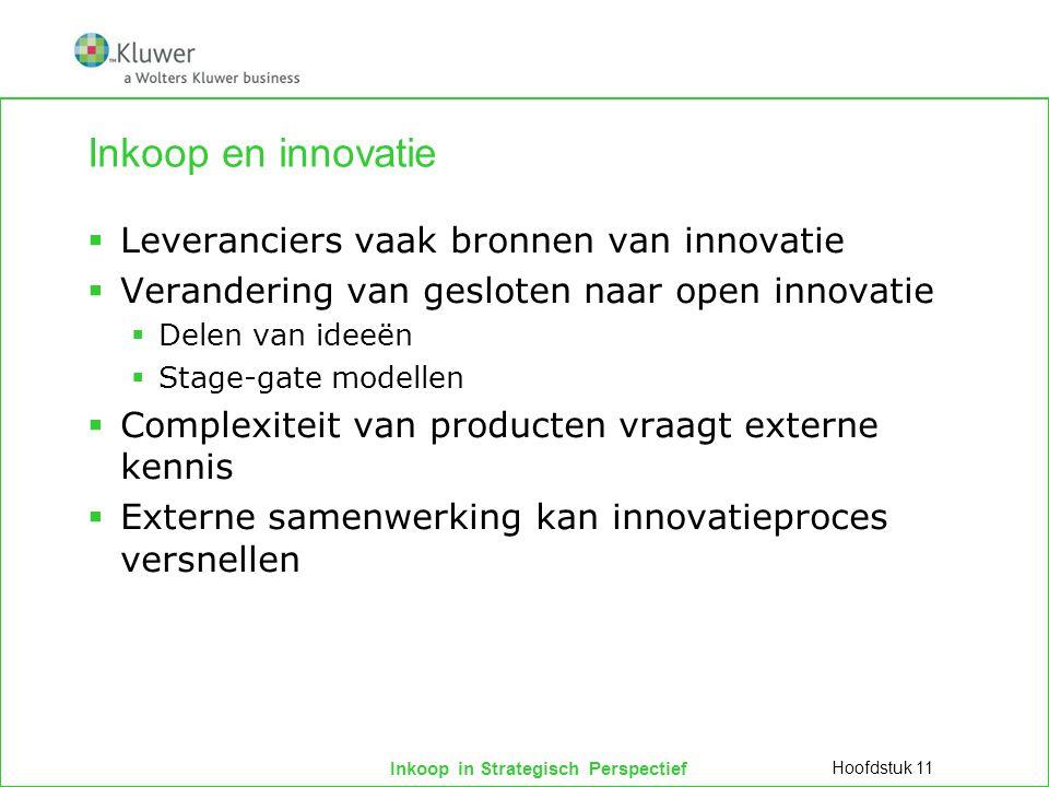 Inkoop en innovatie Leveranciers vaak bronnen van innovatie