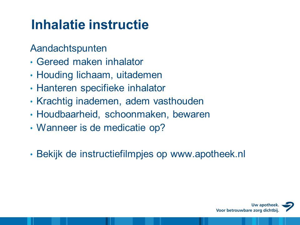 Inhalatie instructie Aandachtspunten Gereed maken inhalator