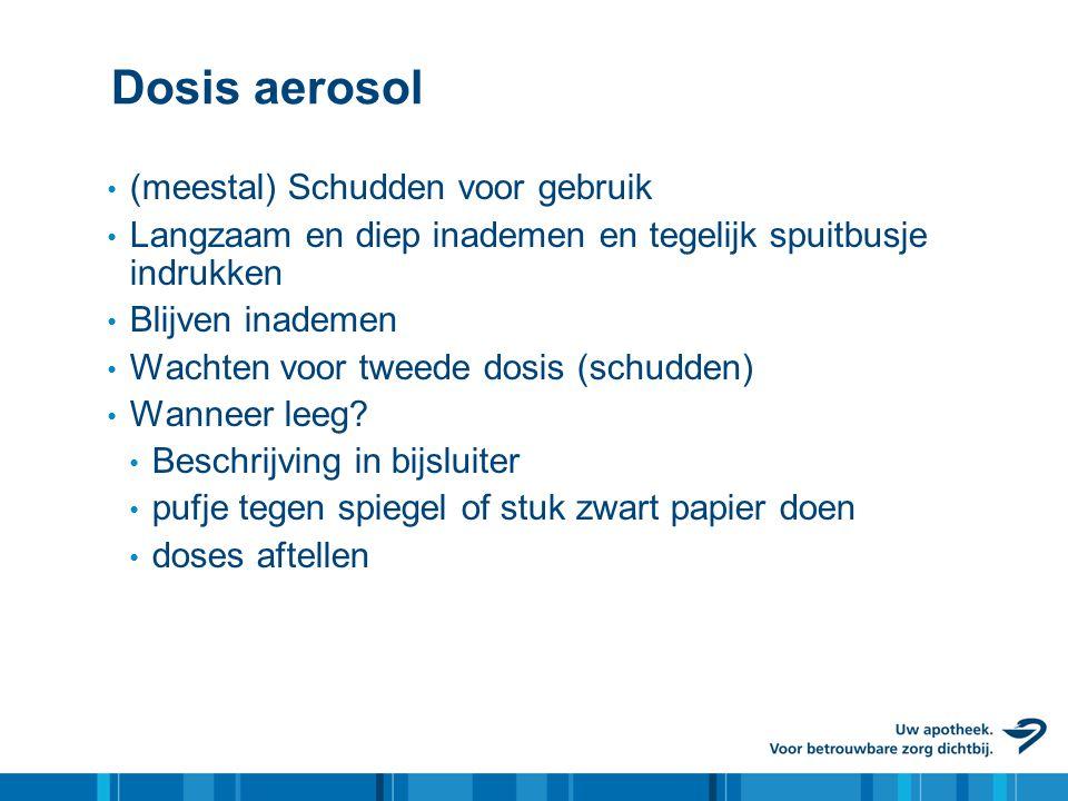 Dosis aerosol (meestal) Schudden voor gebruik