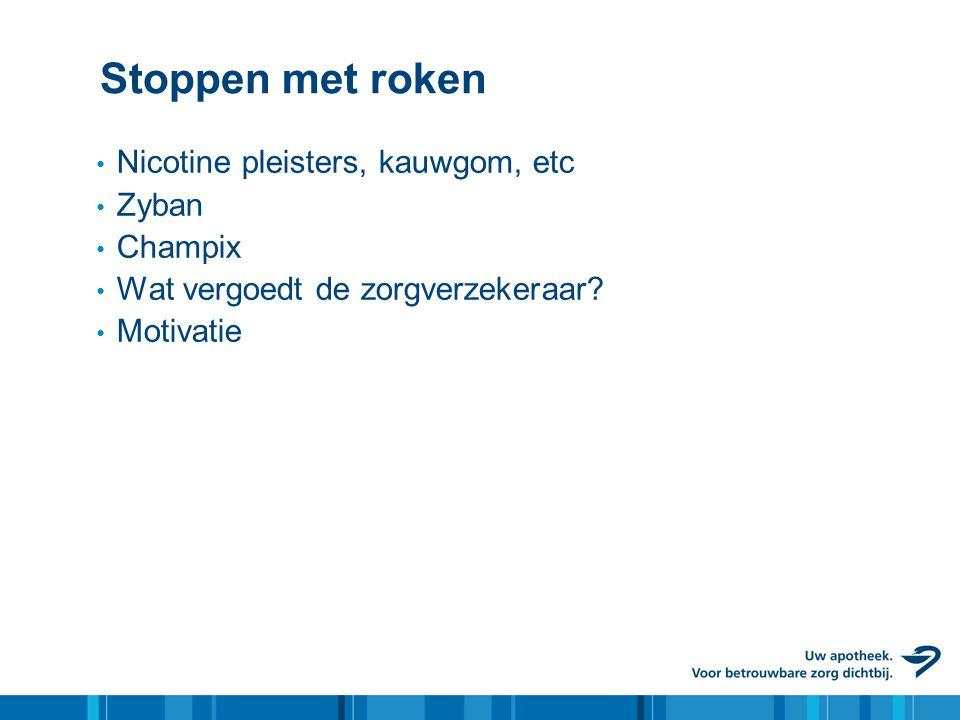 Stoppen met roken Nicotine pleisters, kauwgom, etc Zyban Champix