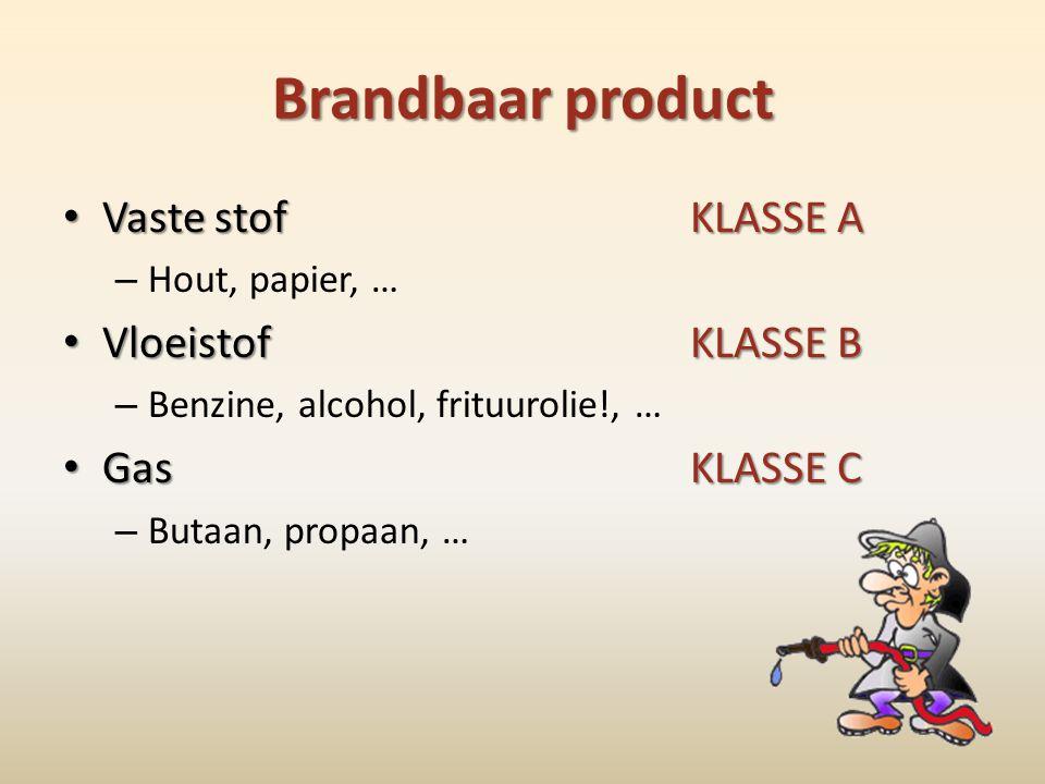 Brandbaar product Vaste stof KLASSE A Vloeistof KLASSE B Gas KLASSE C