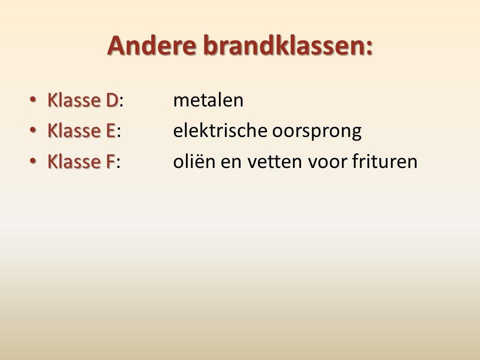Andere brandklassen: Klasse D: metalen Klasse E: elektrische oorsprong