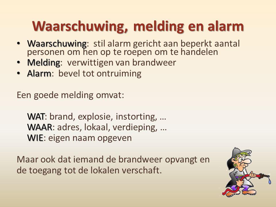Waarschuwing, melding en alarm