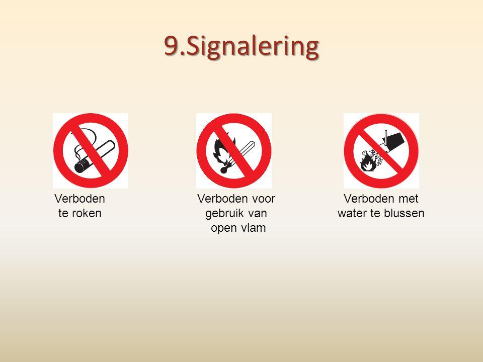 9.Signalering Verboden te roken Verboden voor gebruik van open vlam