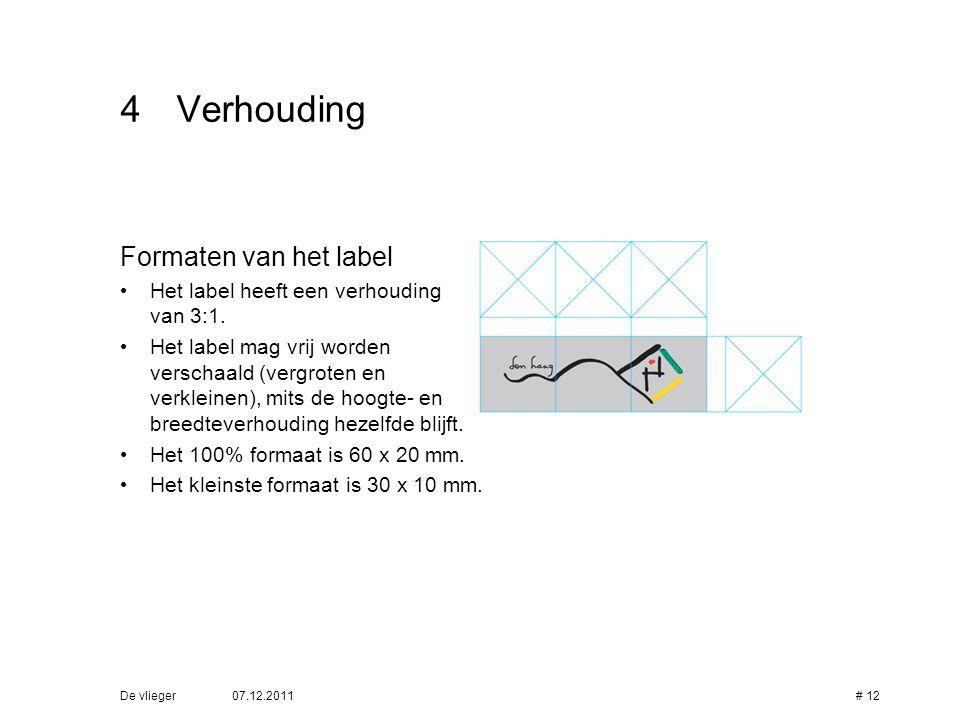 4 Verhouding Formaten van het label