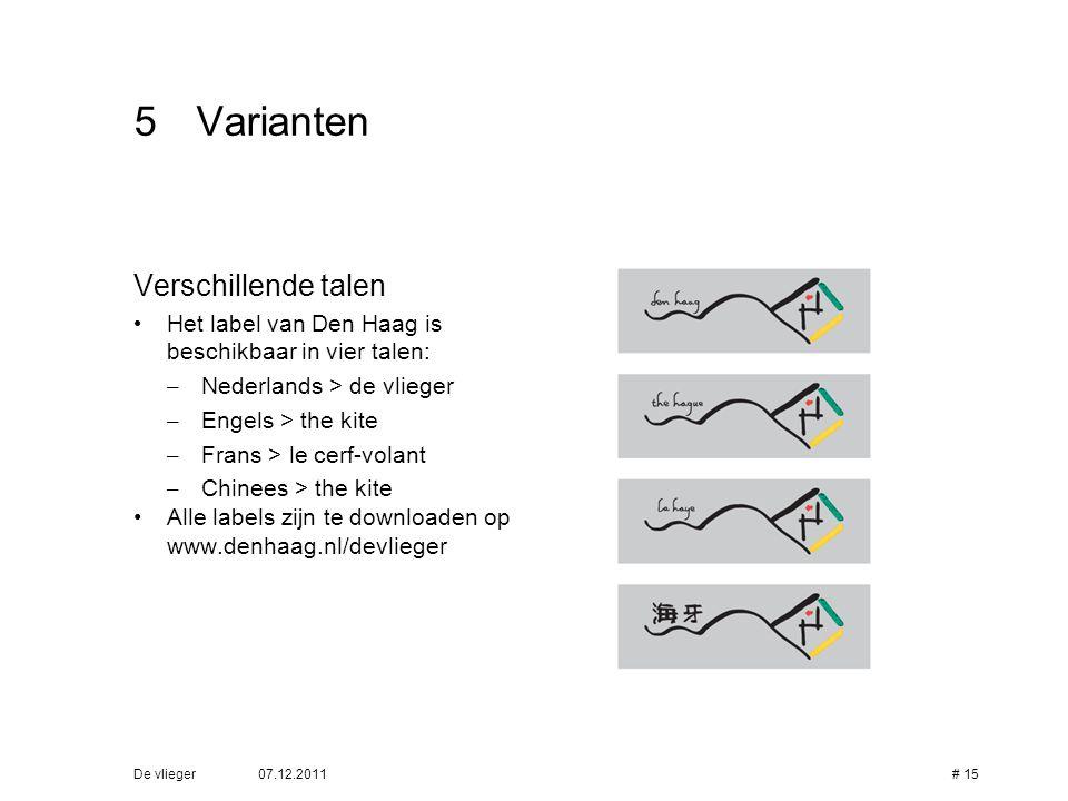 5 Varianten Verschillende talen