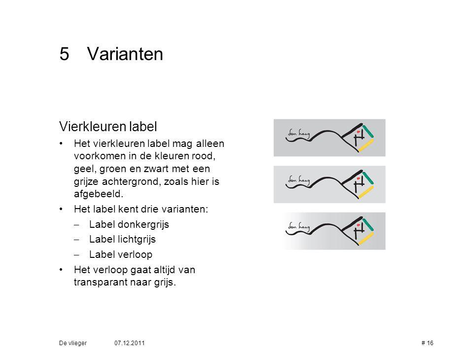 5 Varianten Vierkleuren label