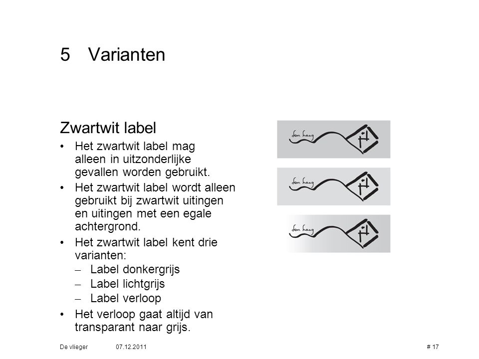 5 Varianten Zwartwit label