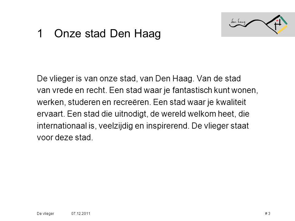 Onze stad Den Haag De vlieger is van onze stad, van Den Haag. Van de stad. van vrede en recht. Een stad waar je fantastisch kunt wonen,