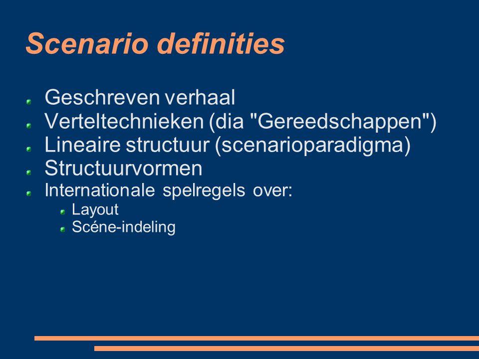 Scenario definities Geschreven verhaal
