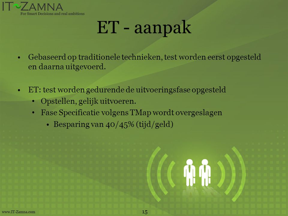 ET - aanpak Gebaseerd op traditionele technieken, test worden eerst opgesteld en daarna uitgevoerd.