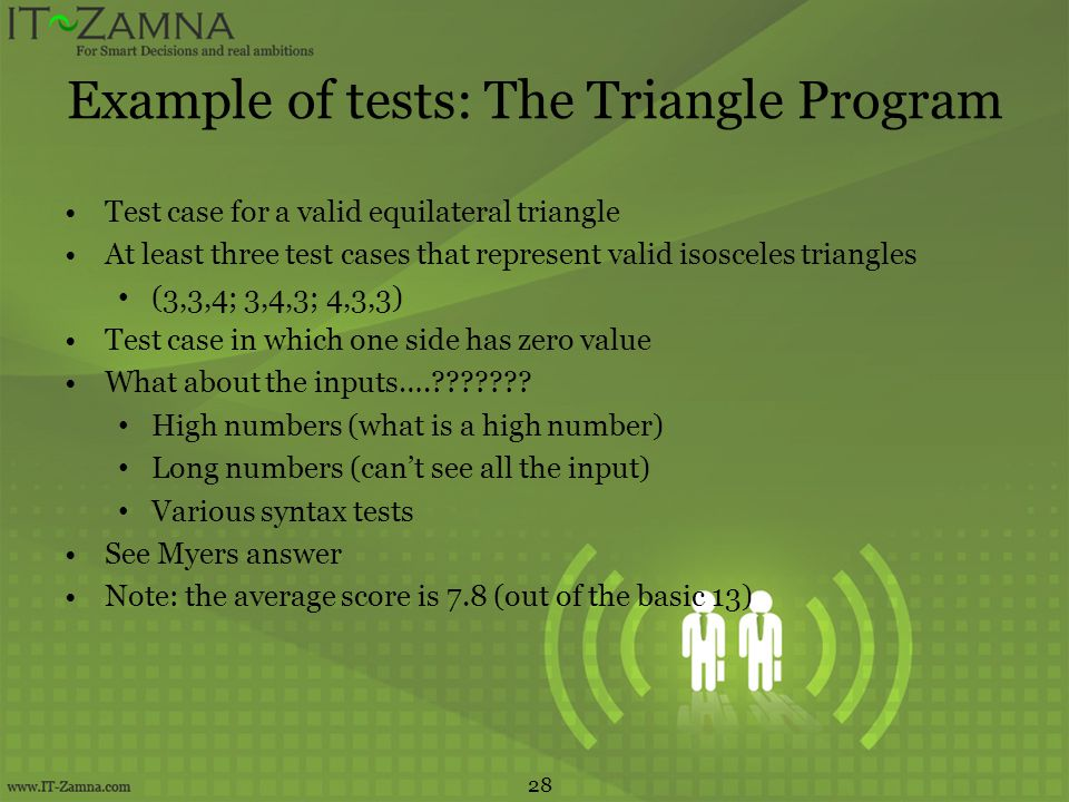 Example of tests: The Triangle Program
