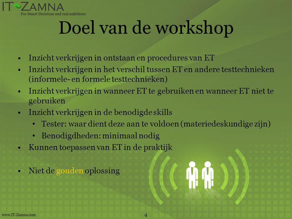 Doel van de workshop Inzicht verkrijgen in ontstaan en procedures van ET.