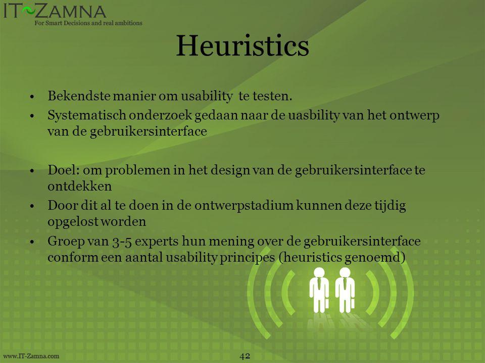 Heuristics Bekendste manier om usability te testen.