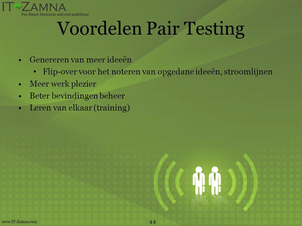 Voordelen Pair Testing
