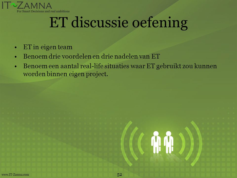 ET discussie oefening ET in eigen team