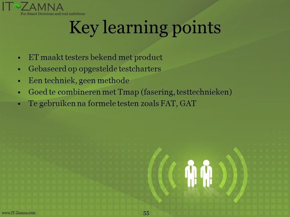 Key learning points ET maakt testers bekend met product