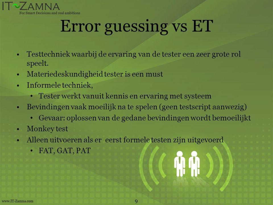 Error guessing vs ET Testtechniek waarbij de ervaring van de tester een zeer grote rol speelt. Materiedeskundigheid tester is een must.