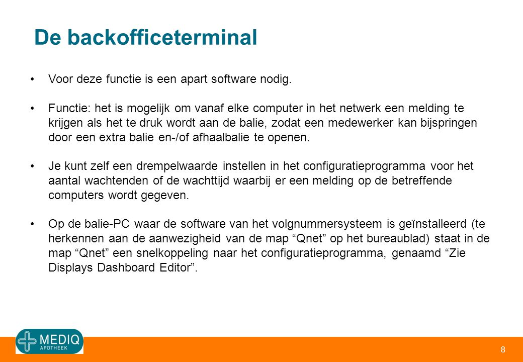 De backofficeterminal