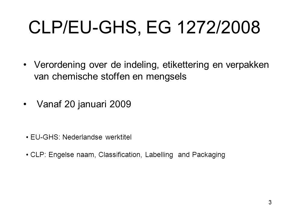 CLP/EU-GHS, EG 1272/2008 Verordening over de indeling, etikettering en verpakken van chemische stoffen en mengsels.