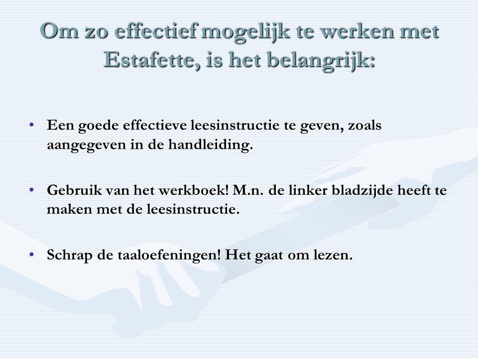 Om zo effectief mogelijk te werken met Estafette, is het belangrijk: