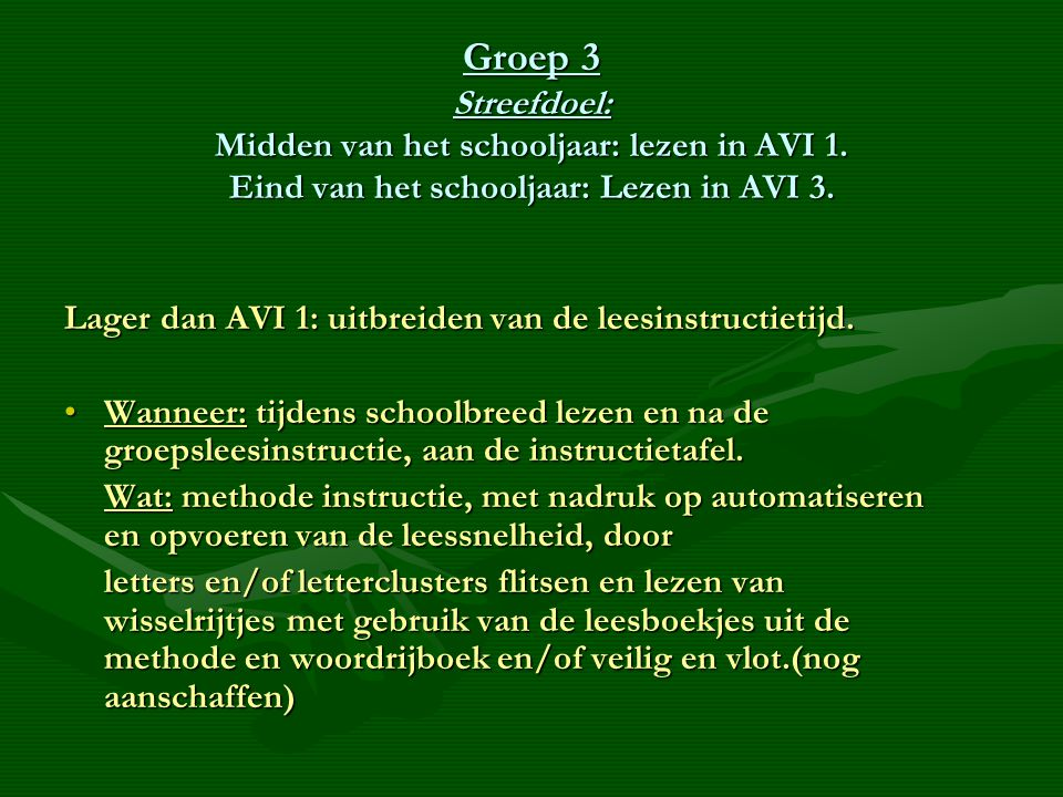 Groep 3 Streefdoel: Midden van het schooljaar: lezen in AVI 1