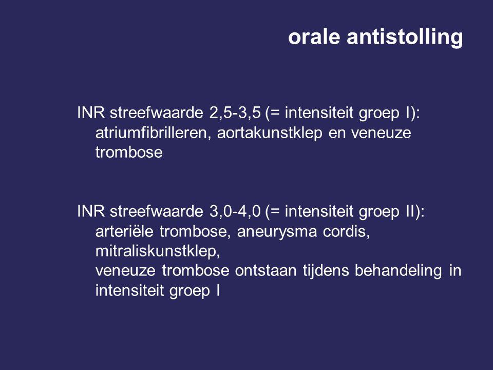 orale antistolling INR streefwaarde 2,5-3,5 (= intensiteit groep I):