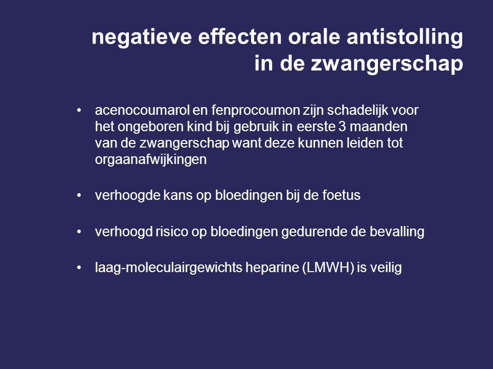 negatieve effecten orale antistolling in de zwangerschap