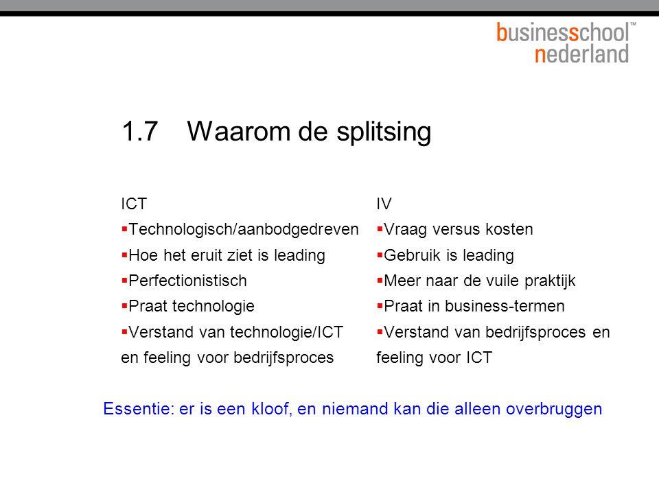1.7 Waarom de splitsing ICT. Technologisch/aanbodgedreven. Hoe het eruit ziet is leading. Perfectionistisch.