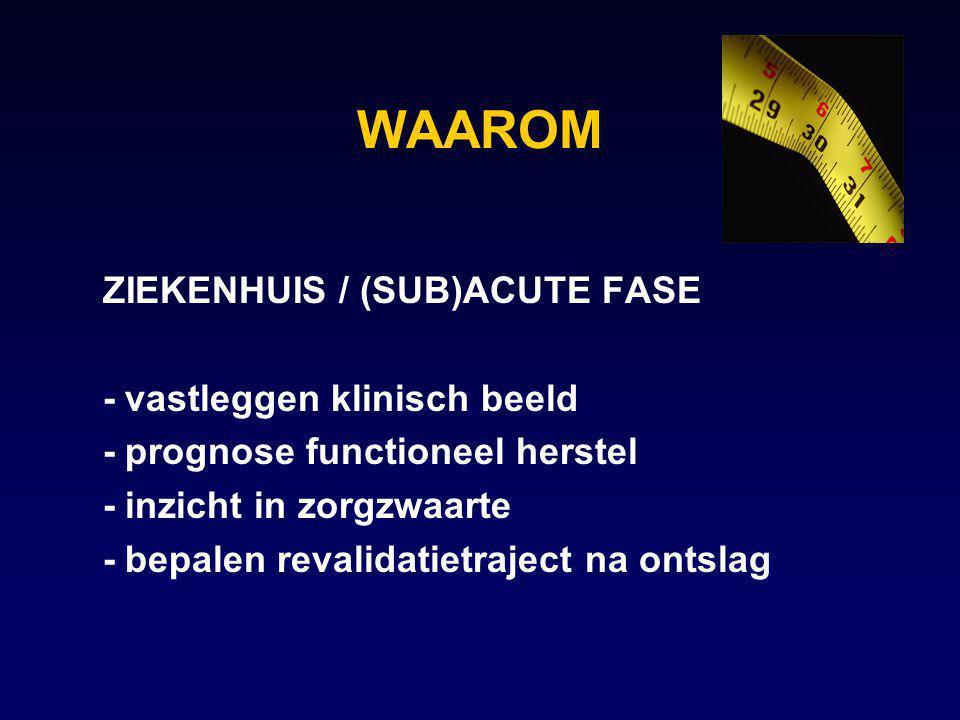 WAAROM ZIEKENHUIS / (SUB)ACUTE FASE - vastleggen klinisch beeld