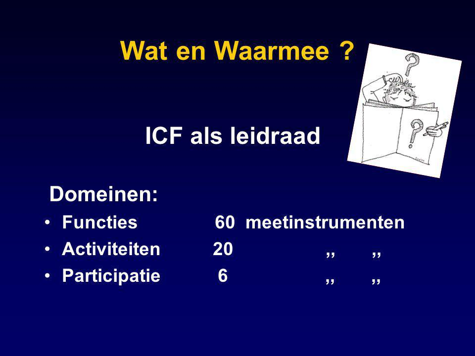 Wat en Waarmee ICF als leidraad Domeinen: