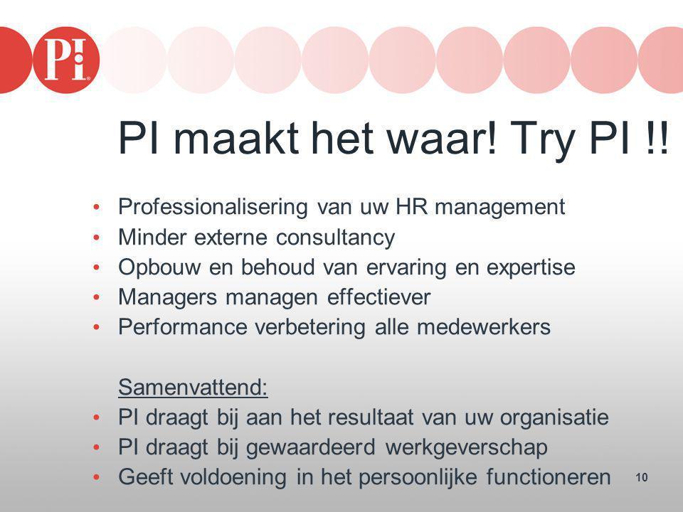 PI maakt het waar! Try PI !! Professionalisering van uw HR management
