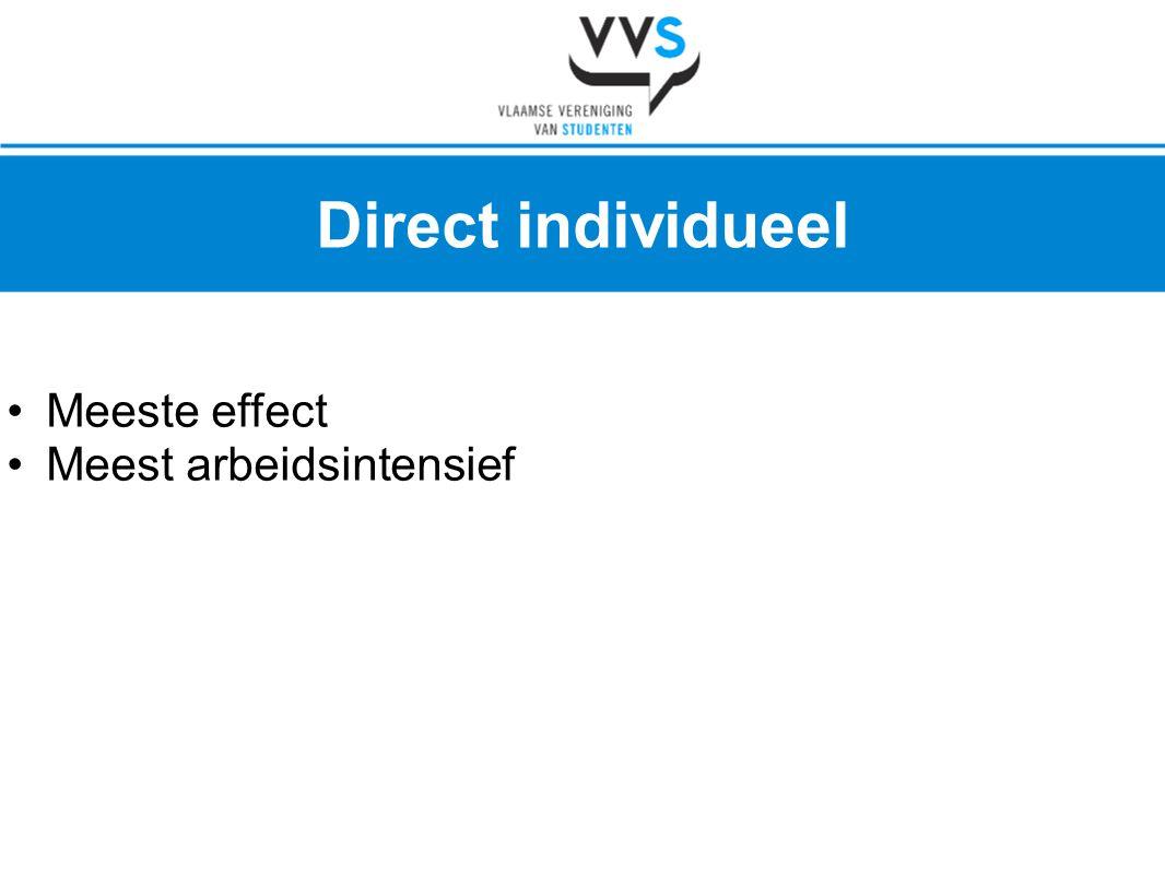 Direct individueel Meeste effect Meest arbeidsintensief