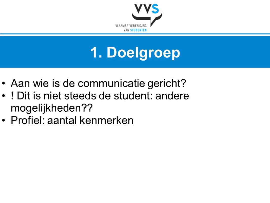 1. Doelgroep Aan wie is de communicatie gericht