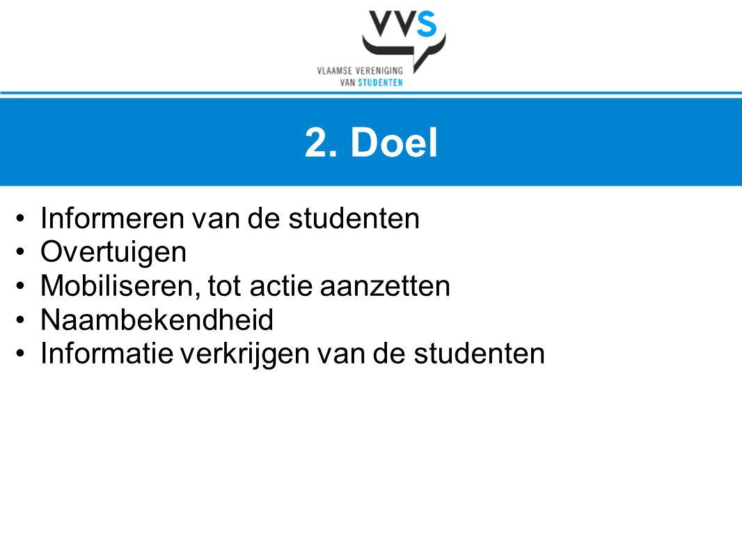 2. Doel 2. Doel Informeren van de studenten Overtuigen