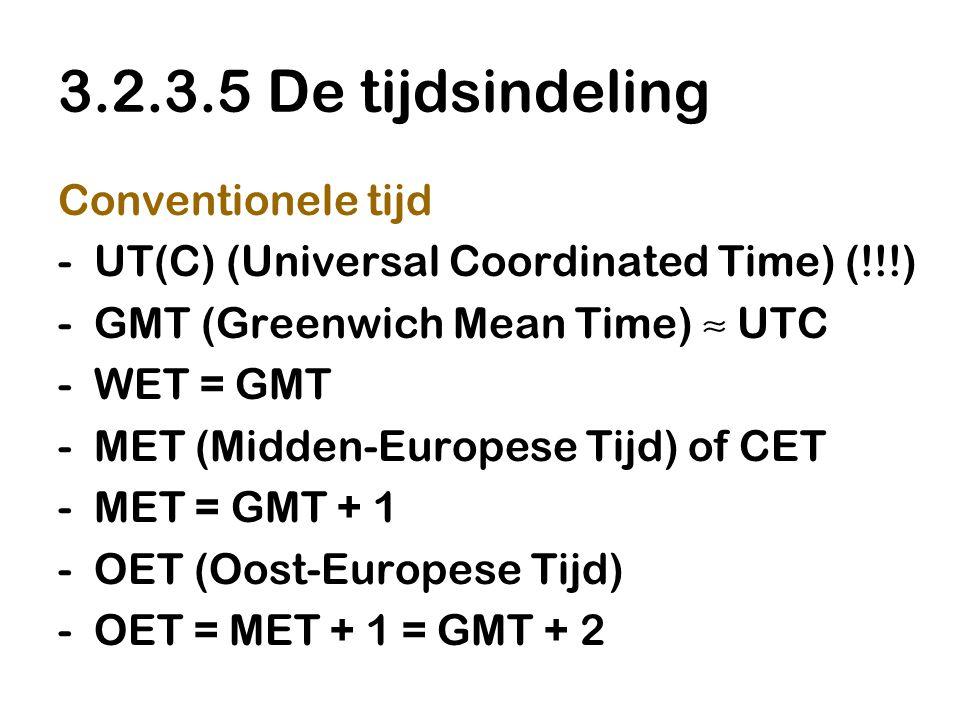 3.2.3.5 De tijdsindeling Conventionele tijd