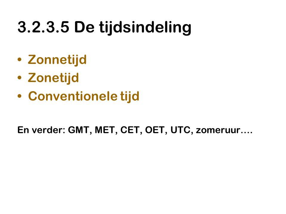 3.2.3.5 De tijdsindeling Zonnetijd Zonetijd Conventionele tijd