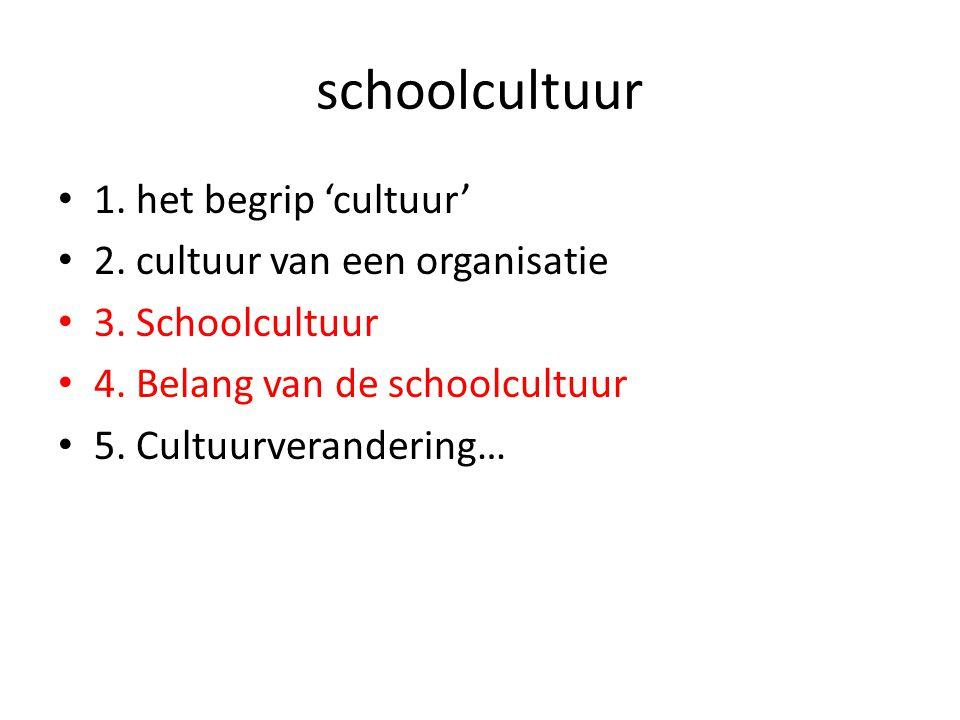 schoolcultuur 1. het begrip 'cultuur' 2. cultuur van een organisatie